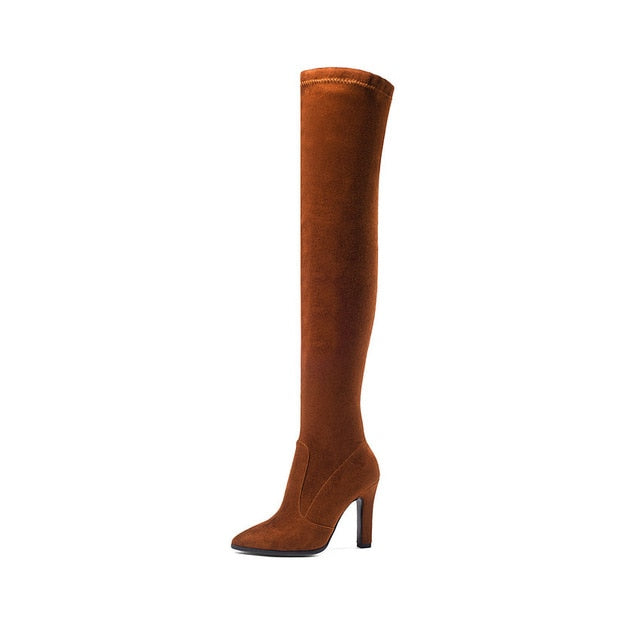 habazoo - Women Boots Stretch Fabrics Over The Knee Boots Pointed Toe Autumn Shoes Thin High Heels Ladies Boots Size 34-43 - Habazoo -