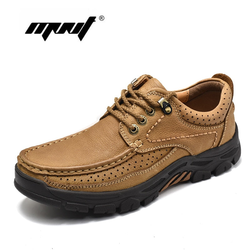 Quality Genuine Leather Lace Up Comfortable Autumn Ankle Boots Shoes Nonslip Rubber Outdoor Shoes - Habazoo