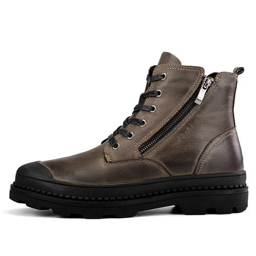 JUNJARM 100% Genuine Leather Motocycle Boots Mens Winter Shoes High Quality Men Ankle Boots Warm Men Snow Boots Big Size 38-47 - Habazoo