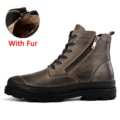 habazoo - Leather Motocycle Boots Mens Winter Shoes High Quality Men Ankle Boots Warm Men Snow Boots Big Size 38-47 - Habazoo -