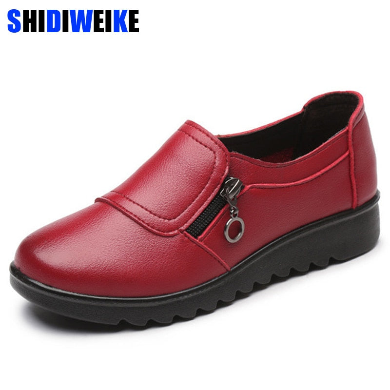 habazoo - Fashion Soft Leather Round Toe Women Casual Flats Ladies Patchwork Side Zipper Flat Oxford Shoes - Habazoo -