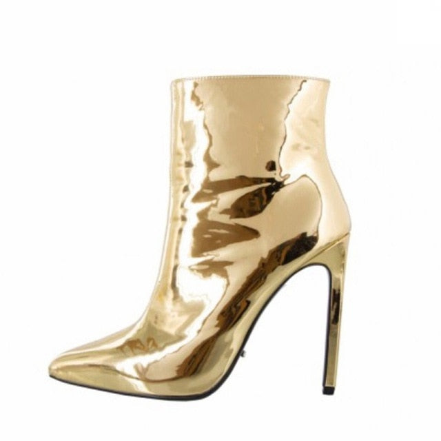 habazoo - Women Boots Winter Autumn High Heels Shoes for Female Gold Silver Shoes Woman Fur Warm Patent Leather Ankle Boots - Habazoo -