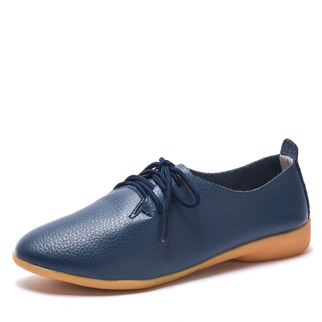 habazoo - New Women Shoes Genuine Leather Women's Shoe Lace-Up Female Flats Pointed Toe Woman Oxfords Large Size 35-44 - Habazoo -