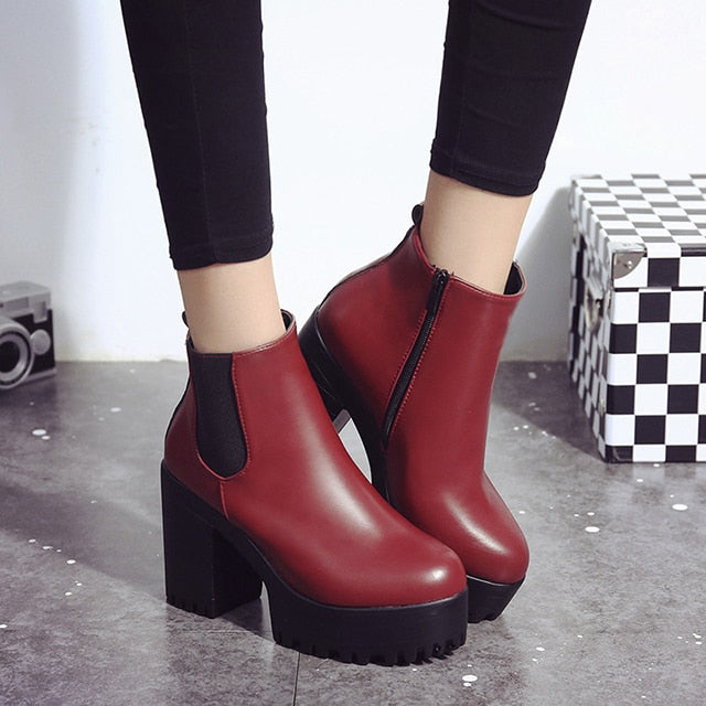 habazoo - Chelsea Boots Female Leather Women Boots  Thick Heels Ankle Boots For Women Round Toe Winter Shoes Women Flat Platform Boots - Habazoo -