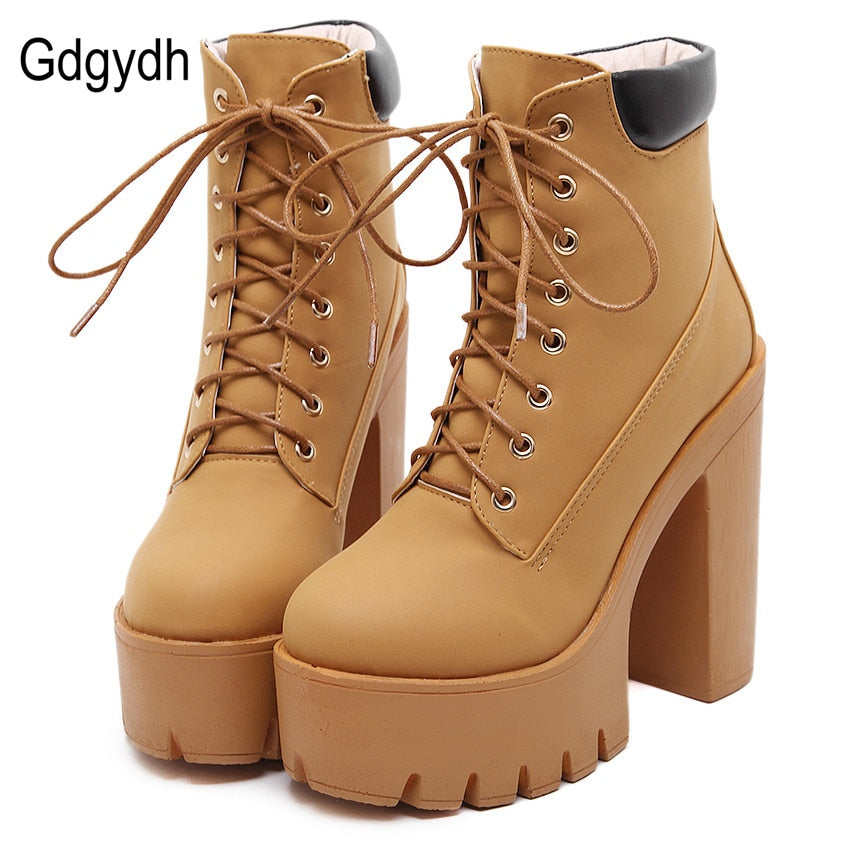 habazoo - Platform Ankle Boots Women Lace Up Thick Heel Platform Boots Ladies Worker Boots - Habazoo -