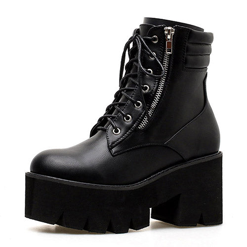 habazoo - Ankle Boots For Women Motorcycle Boots Chunky Heels Casual Lacing Round Toe Platform Boots Shoes Female - Habazoo -
