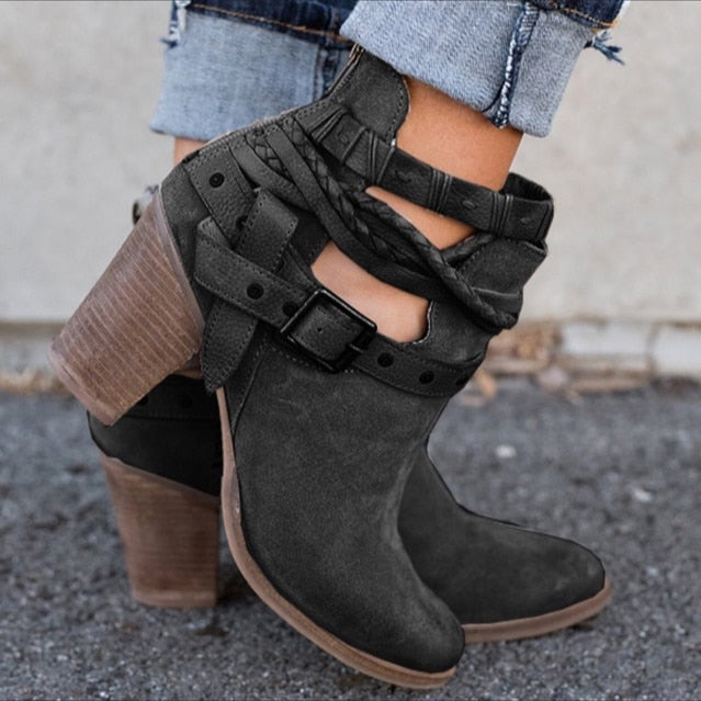 habazoo - Buckle Strap Women Ankle Boots Casual Platform Shoes Woman High Heels Western Boots Slip On Winter Women Shoes - Habazoo -