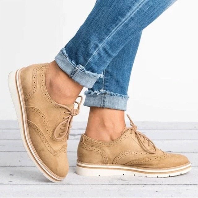 habazoo - Brogue Shoes Woman Platform Oxfords British Style Creepers Cut-Outs Flat Casual Women Shoes - Habazoo -