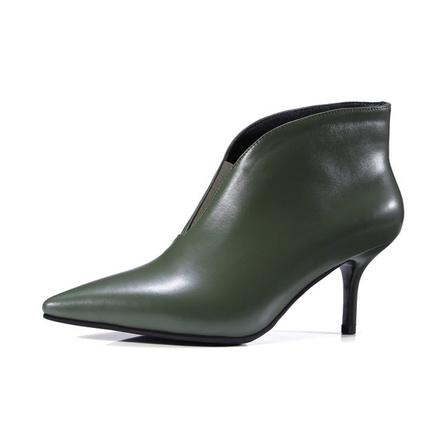 habazoo - brand shoes women ankle boots genuine leather autumn sexy pointed toe V-neckline rome thin high heels black green - Habazoo -