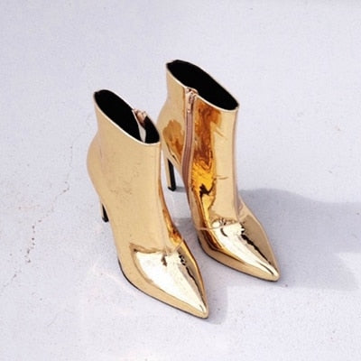 habazoo - Gold Silver Women Winter Shoes Patent Leather Motorcycle Boots Ladies Ankle Boots Faux Fur Spring Autumn High Heels Boots Woman - Habazoo -