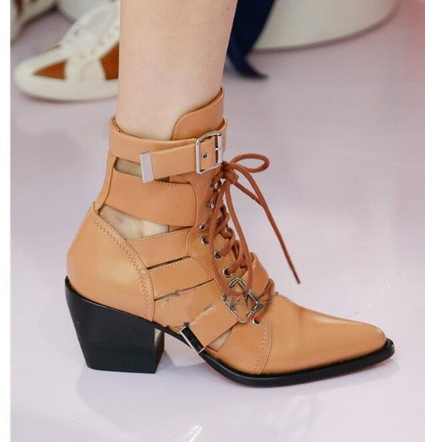 habazoo - Genuine Leather ankle boots for women strappy cut out  Buckle Straps high Heels Motorcycle Riding Boots shoes - Habazoo -