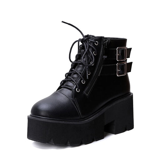 lace up Boots Thick Heel Ankle Boots Women High Heels Shoes punk boots platform shoes - Habazoo