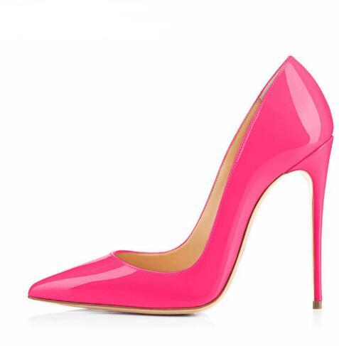 habazoo - Big Sale Sexy Pointed Toe High Heel Pumps Patente Leather Thin Heels Woman Shoe Rose Pink Green Red Black Nude Dress Heels - Habazoo -