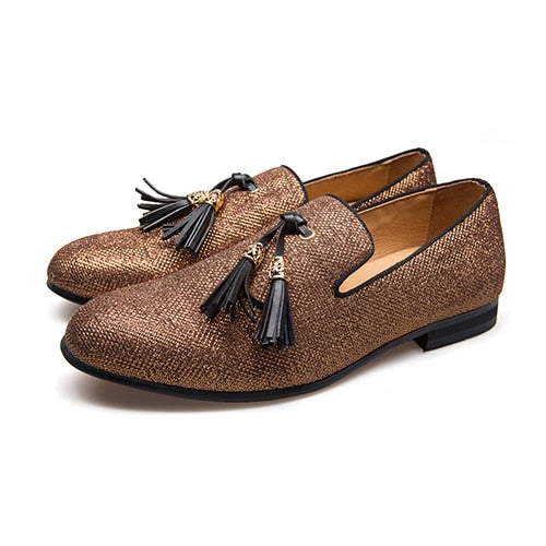 habazoo - Handmade Metal fashion gold Tassel  Red Bottom Loafers Gentleman Luxury Fashion Stress Shoes - Habazoo -