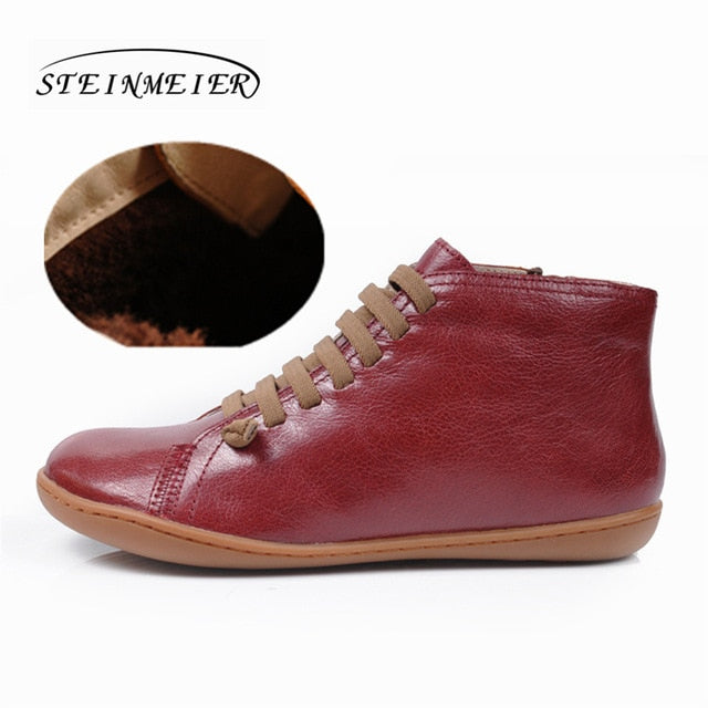 habazoo - men Vintage handmade genuine leather flat casual boots comfortable breathable head layer cow hide boots - Habazoo -