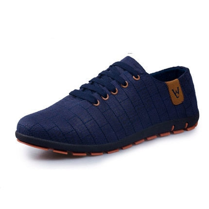 habazoo - Breathable Men's Shoes Casual Fashion Low Lace-up Canvas Shoes Flats - Habazoo -