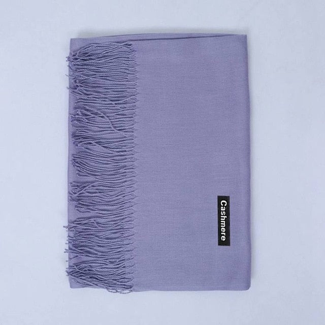 habazoo - Luxury Brand Cashmere Scarf Women Ladies Men's Winter Warm Soft Shawls Pashmina Solid Tassel Long Scarves - Habazoo -