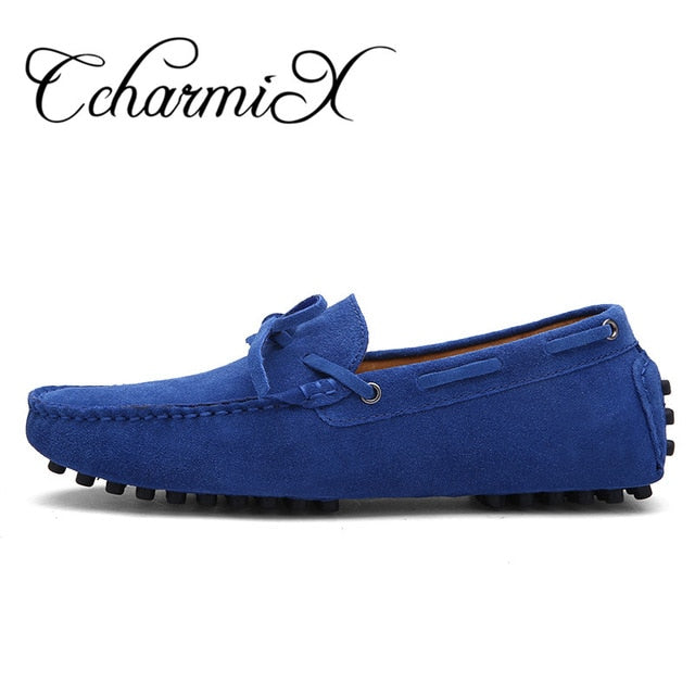 habazoo - Driving Shoe Real Suede Leather Boat Shoes Breathable Male Casual Flats Slip On Moccasins Blue Loafers - Habazoo -