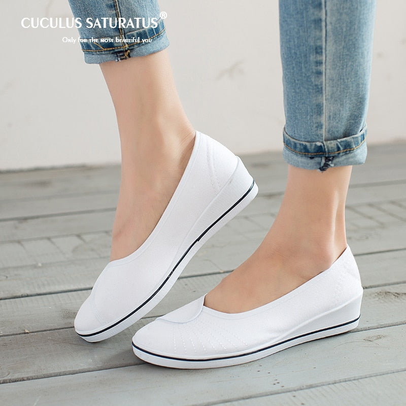 habazoo - Women Loafers Soft Slip On Canvas Flats Shoes Woman Solid Casual Breathable Shoe For Mother Platform Shoes - Habazoo -