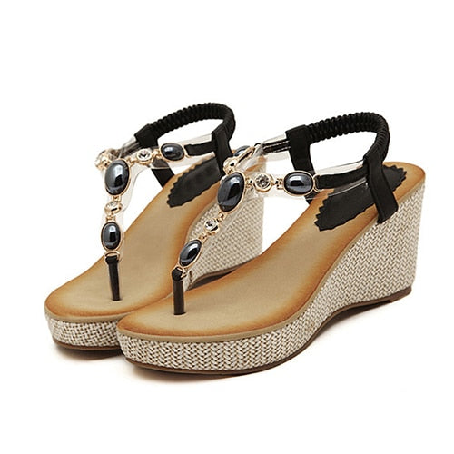 habazoo - Women Sandals Bohemia diamond Wedges Gladiator Beach Sandal Flip Flops summer student  Sandals women - Habazoo -