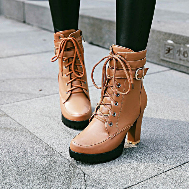 habazoo - Chunky High Heels Women Ankle Boots Lace Up Fall Winter Platform Ladies Boots Large Size Fashion Shoes White Black Brown 2019 - Habazoo -