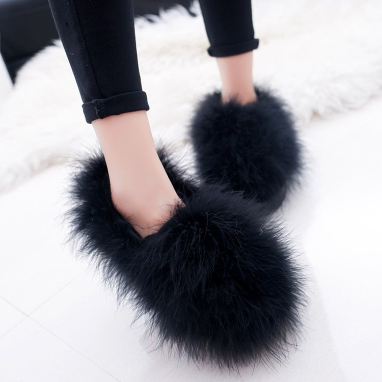 habazoo - Warm Ballet Flats 2018 Designer Furry Casual Shoes Woman Outdoor Loafers - Habazoo -