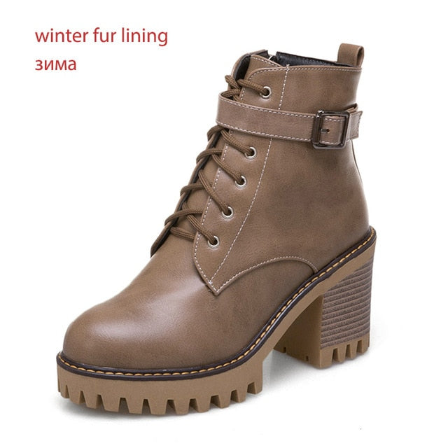 habazoo - Plus Size 44 High Heels Ankle Women Boots Round Toe Lace Up Footwear Female Motorcycle Boot Platform Shoes Women Winter - Habazoo -