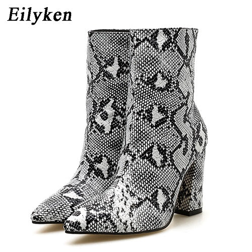 habazoo - Women Zipper Boots Snake Print Ankle Boots Square heel Fashion Pointed toe Ladies Sexy  New Chelsea Boots - Habazoo -
