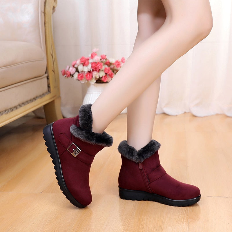 habazoo - Winter Women Ankle Boots New Fashion Flock Wedge Platform Winter Warm Red Black Snow Boots Shoes For Female - Habazoo -