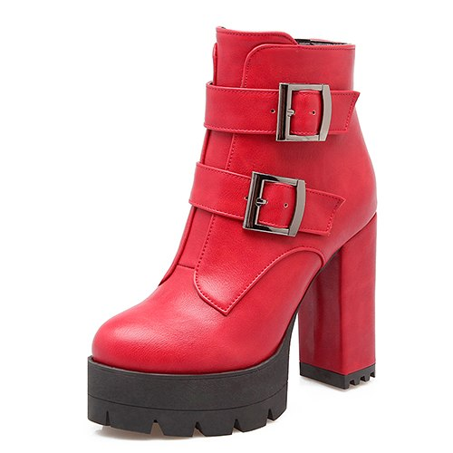 habazoo - Women Boots Platform Rubber Sole Ladies Casual Shoes Plus Size Black High Heels Zipper Red Leather Boots - Habazoo -