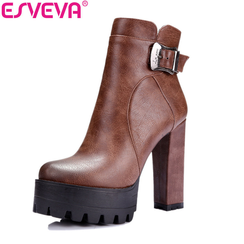 habazoo - Western Brown Buckle Women Boots Round Toe Spring Autumn Shoes Square High Heel Platform Sexy Ankle Boots Size 34-42 - Habazoo -