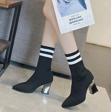 habazoo - New British autumn/winter 2018 ms pointed high-heeled Women's boots thick with ladies boots socks knitting elastic ladies boots - Habazoo -