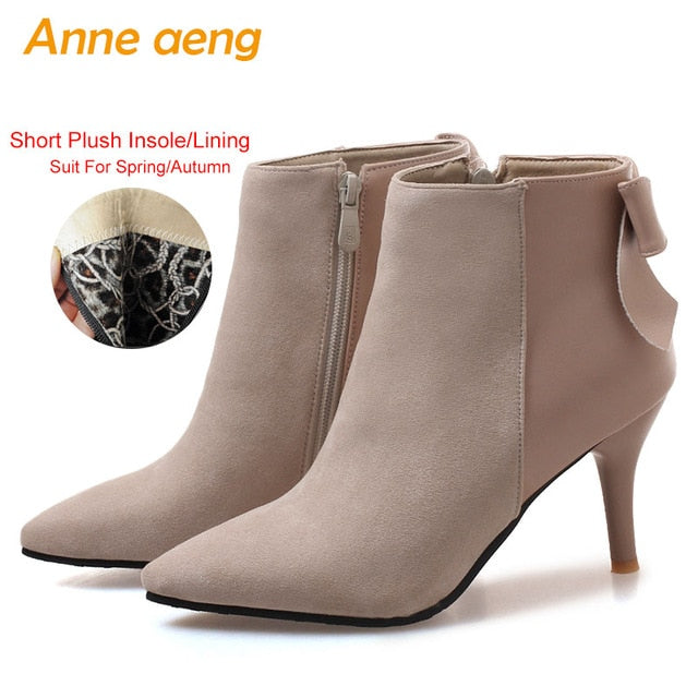 habazoo - Women Ankle Boots High Thin Heel Pointed Toe Elegant Sexy Ladies Women Shoes Beige Snow Boots Big Size 33-46 - Habazoo -
