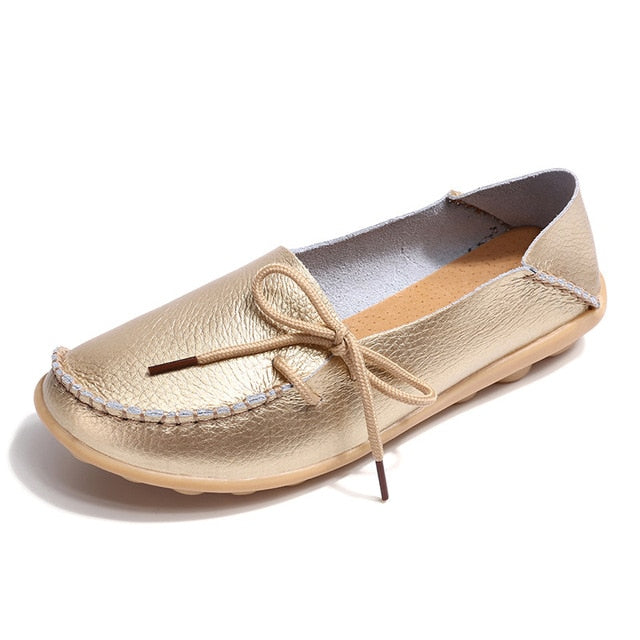 habazoo - women flats genuine leather shoes slip on  ballet flats - Habazoo -