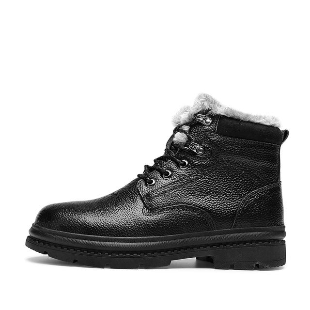 Leather High Quality Winter Ankle Boots Shoes - Habazoo