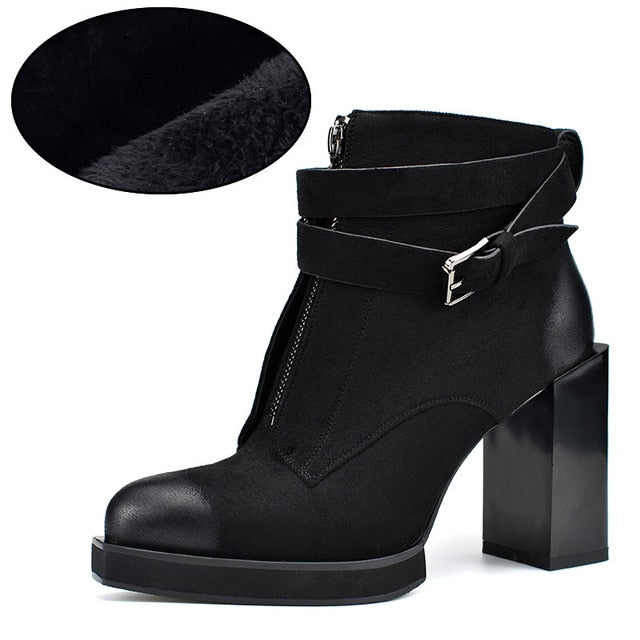 habazoo - Flock Leather Lady Ankle Boots Square High Heels Platform Buckle Strap Front Zipper Women Boots Winter Shoes - Habazoo -