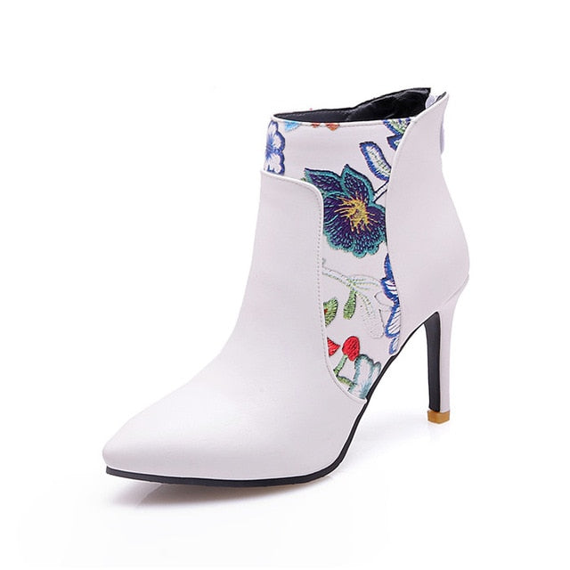 habazoo - Women Boots High Heel Ankle Boots Flower Pointed Toe Stiletto Short Boots Zip Female Footwear White Yellow 45 46 - Habazoo -
