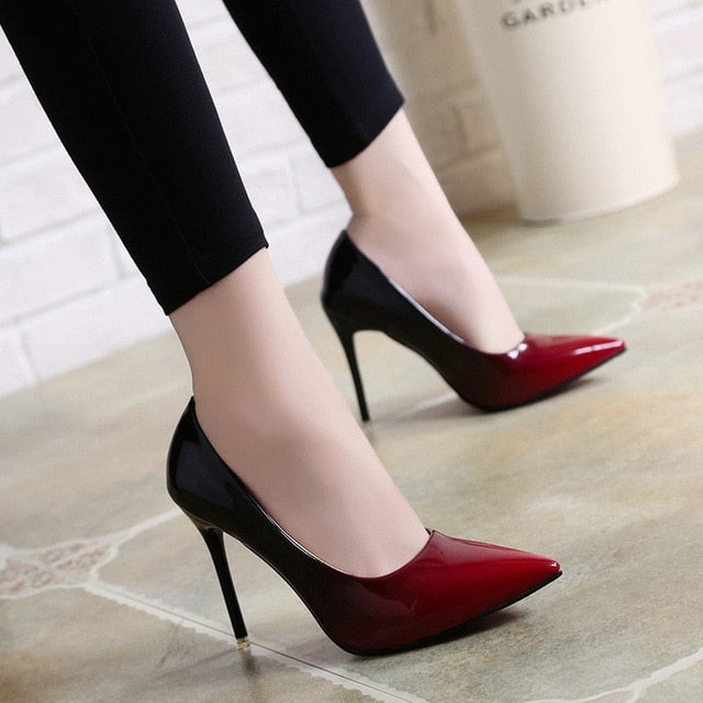 habazoo - Shadow Women Shoes Pointed Toe Pumps Patent Leather Dress Wine Red 10CM High Heels Boat Shoes Wedding Shoes - Habazoo -
