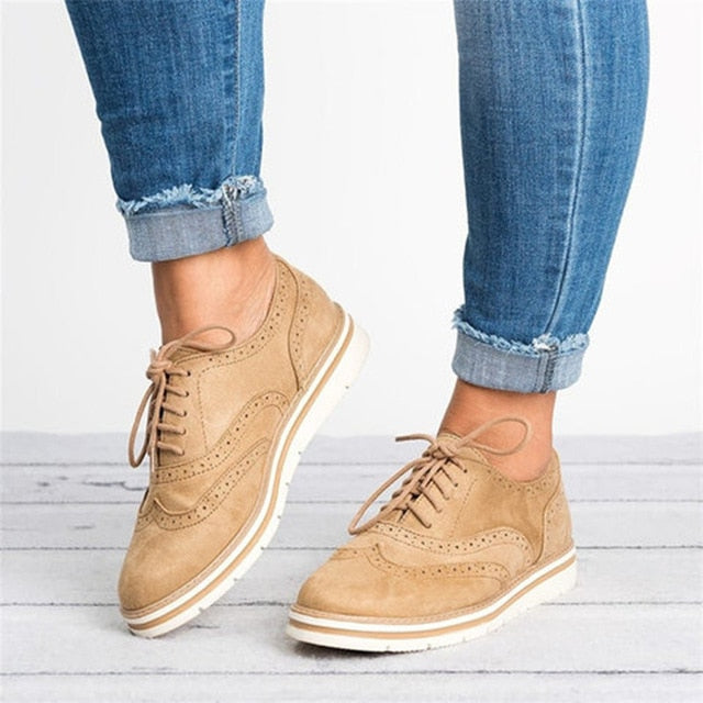 habazoo - Plus Size Rubber Brogue Shoes Woman Platform Oxfords British Style Creepers Cut-Outs Flat Casual Women Shoes - Habazoo -