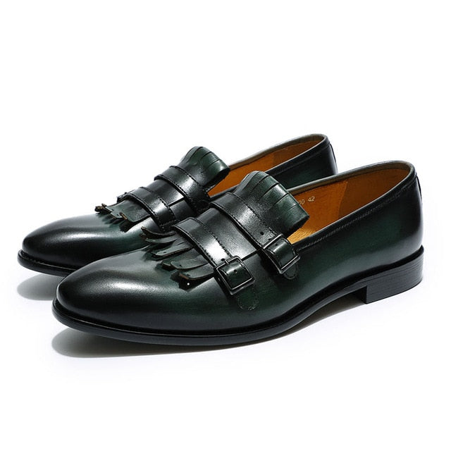 habazoo - classic mens loafer double monk strap genuine leather brown green casual dress shoes men's wedding party banquet shoe - Habazoo -