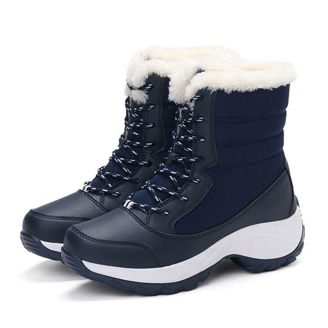 habazoo - Women Boots Waterproof Winter Shoes Women Snow Boots Platform Keep Warm Ankle Winter Boots With Thick Fur Heels Botas Mujer 2018 - Habazoo -