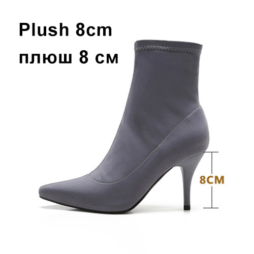 habazoo - Women Boots Winter Shoes High Heels Stretch Fabric Ankle Boots Woman Slip On Fashion Brand Female Shoes Pointed Toe Plus Size DE - Habazoo -
