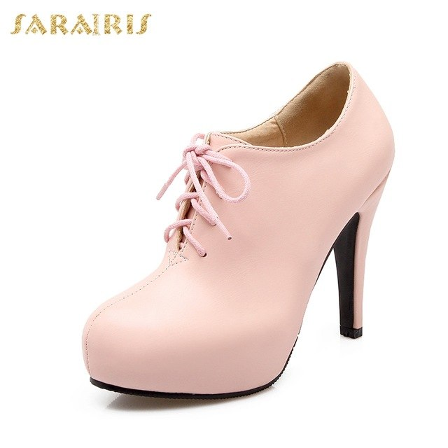 habazoo - SARAIRIS New Plus size 34-43 autumn lace up platform booties Pumps women's Shoes Woman High Heels OL Lady Shoes ankle boots - Habazoo -