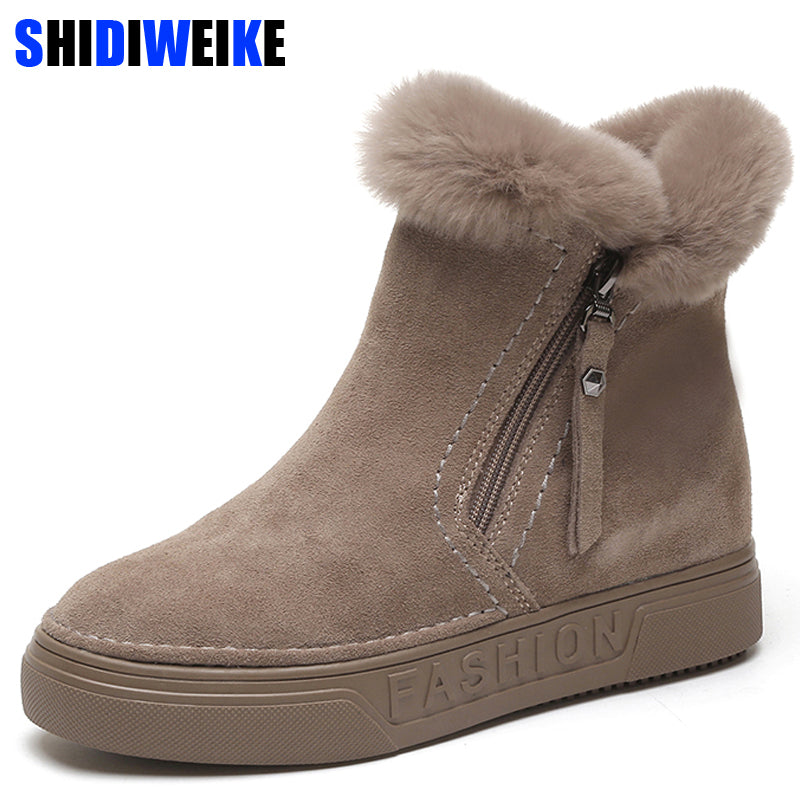 habazoo - Women's Winter Ankle Boots Female Zipper Flock Platform Snow Boot Ladies Plush Sneakers Casual Flat Shoes Woman Footwear - Habazoo -
