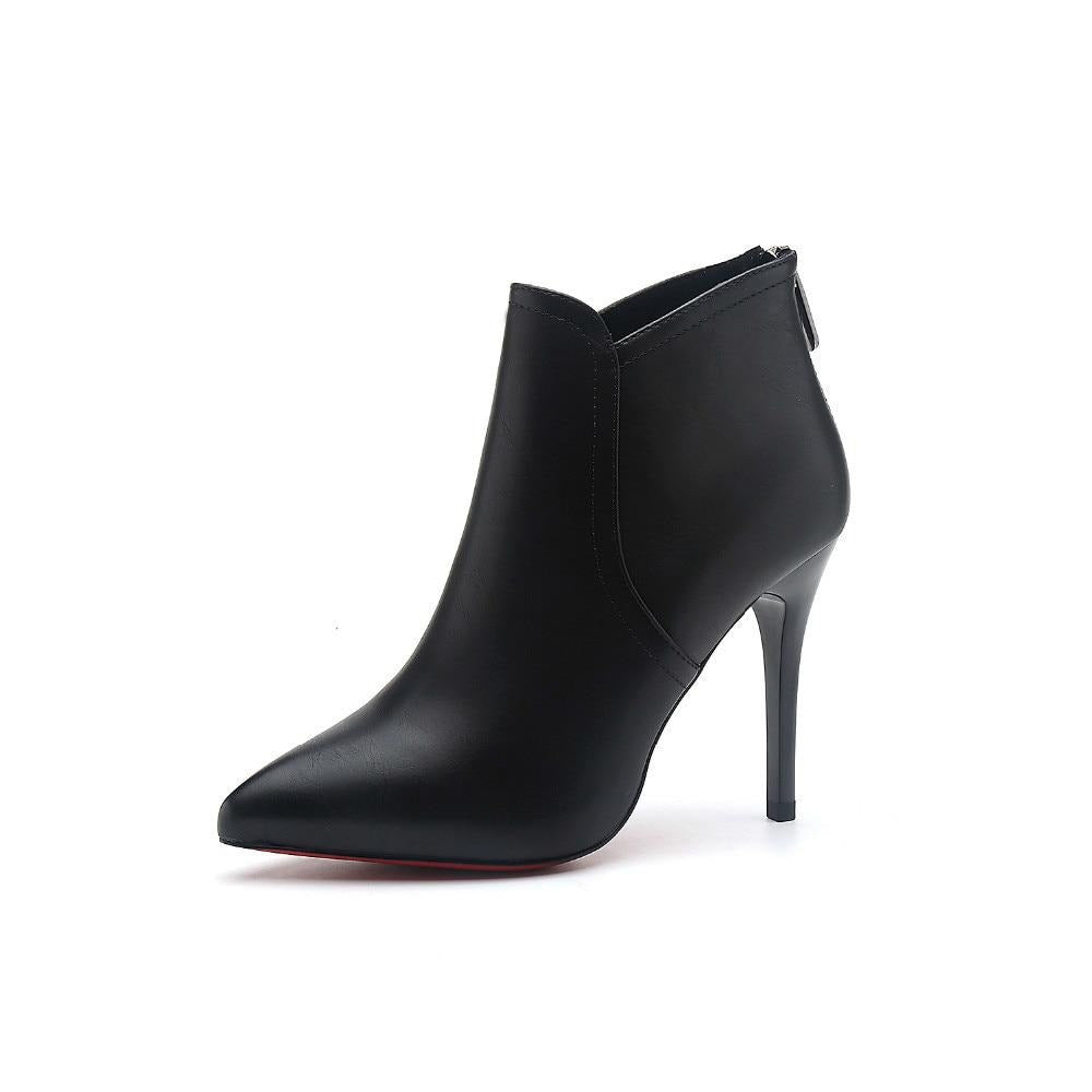 habazoo - Genuine Leather Ankle Boots Women's Fashion Boots Female Pointed Toe Stiletto High Heel Black Sexy Shoes dftg643 - Habazoo -