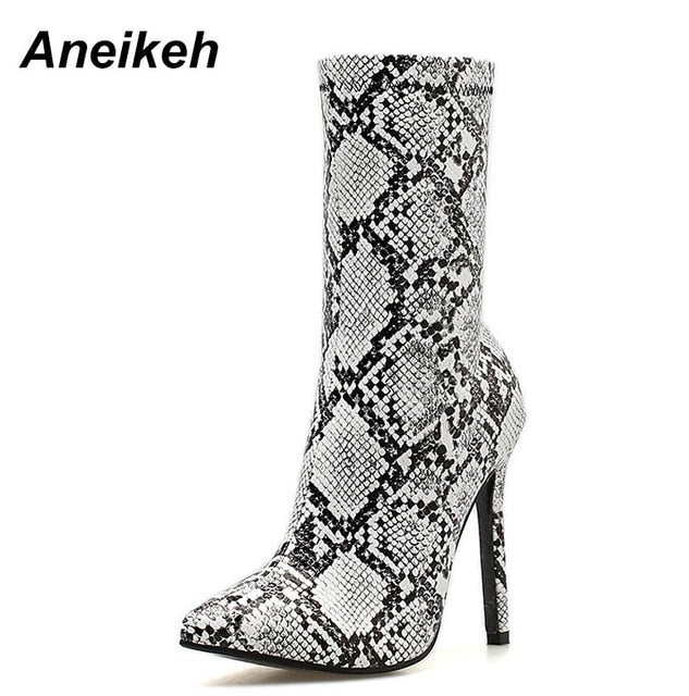 habazoo - Big Shoe Size 41 42 Women Zipper Boots Snake Print Ankle Boots Square heel Pointed Toe Ladies Sexy Shoes Chelsea Boots - Habazoo -