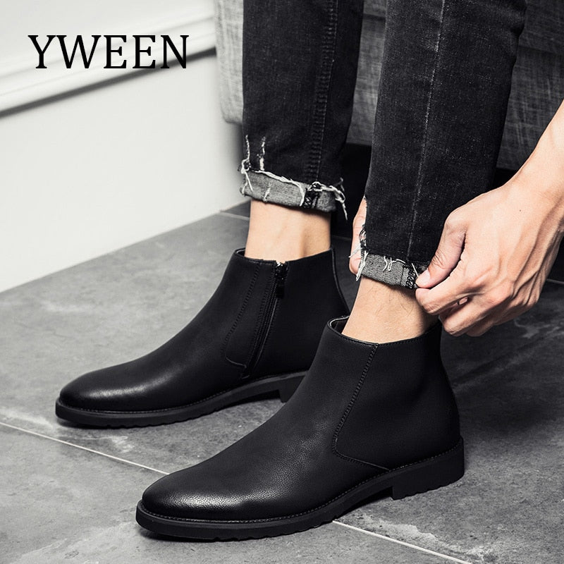 YWEEN Men Leather Chelsea Boots Autumn Winter Men Boots Fashion Leather Boots For Men - Habazoo
