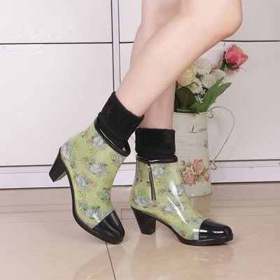 habazoo - Rouroliu Women PVC High Heels Ankle Rain Boots Side Zipper Floral Short Rainboots Waterproof Water Shoes Wellies ZM83 - Habazoo -