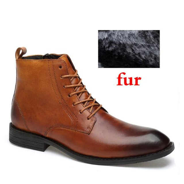 Autumn And Winter Shoes Top Quality Men Boots Natural Leather Waterproof Bussiness Snow Boots Lace-Up Rubber Shoes Dropshipping - Habazoo