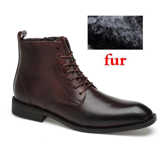 habazoo - Top Quality Men Boots Natural Leather Waterproof Business Snow Boots Lace-Up Rubber Shoes - Habazoo -